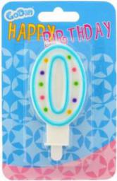 GoDan Świeczka urodzinowa cyferka 0 z kropeczkami