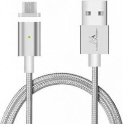 Kabel USB Maclean USB A -> Micro USB, Srebrny, 1m (MCE160)