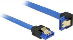 Delock Kabel SATA III, wtyczka kątowa, 30cm, niebieski (85090)