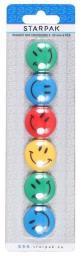 Starpak Magnesy kolorowe emotikony 30mm