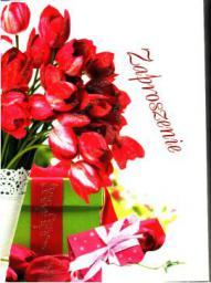 Top Graphic Zaproszenie kwiaty z brokatem