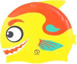 SMJ sport Czepek basenowy silikonowy dziecięcy Rybka F02 żółto-czerwony
