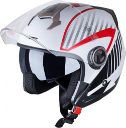 W-TEC Kask motocyklowy otwarty z blendą YM-623 biały z nadrukiem r. XS (53-54) (14686)