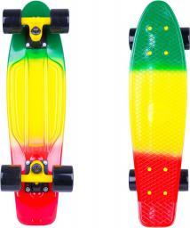 """Deskorolka WORKER Deskorolka penny board fiszka Sunbow 22""""  Kolor zielono-żółto-czerwony (11753-1)"""