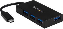 HUB USB StarTech USB C - 4x USB 3.0, czarny  (HB30C4AFS)