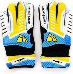 Meteor Rękawice bramkarskie X-3 Junior biało-żółto-niebieskie r. 10