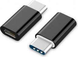 Adapter USB Gembird USB-C - USB Micro-B (wtyk - gniazdo) Czarny (A-USB2-CMmF-01)