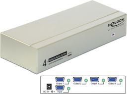 Delock Spliter VGA audio i wideo 450 MHz z 4 gniazdami (87655)