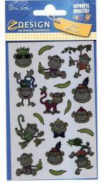 Zdesign Naklejki foliowe metaliczne - małpki (233644)
