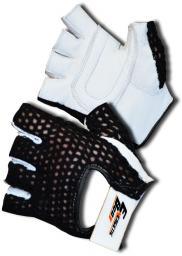 EB FIT rękawice treningowe skórzane czarno-biale r. L