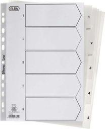 Elba Przekładki plastikowe A4 1-5 białe (100204803)