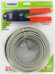 4World Zestaw kabel UTP kat. 5e 25 m + zaciskarka + 10 szt wtyków RJ45 (04426)