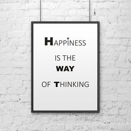 DekoSign Plakat dekoracyjny 50x70 cm HAPPINESS IS THE WAY OF THINKING biały DS-PL1-0 - DS-PL1-0