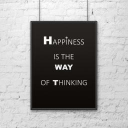 DekoSign Plakat dekoracyjny 50x70 cm HAPPINESS IS THE WAY OF THINKING czarno-biały (DS-PL1-1)