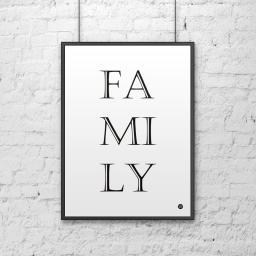 DekoSign Plakat dekoracyjny 50x70 cm FAMILY biało-czarny (DS-PL8-0)