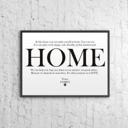 DekoSign Plakat dekoracyjny 50x70 cm HOME biało-czarny (DS-PL12-0)