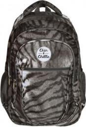 Chin&Chilla Plecak trzykomorowy zwierzęcy czarno-biały (245677)