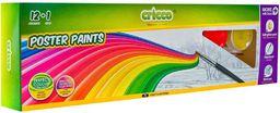 Alpino Farby plakatowe 12 kolorów+brokat+pojemnik CRICCO (251950)