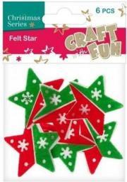 Craft with Fun Ozdoba dekoracyjna filc gwiazdy, 6 elementów