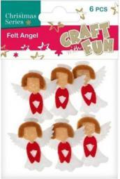 Craft with Fun Ozdoba dekoracyjna filc anioł, 6 elementów