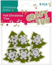 Craft with Fun Ozdoba dekoracyjna filc choinki, 6 elementów