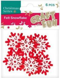 Craft with Fun Ozdoba dekoracyjna filc płatek śniegu, 6 elementów