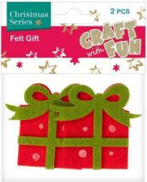 Craft with Fun Ozdoba dekoracyjna filc prezent, 2 elementy (383944)