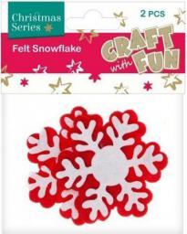 Craft with Fun Ozdoba dekoracyjna filc płatki śniegu, 2 elementy