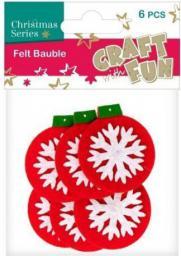 Craft with Fun Ozdoba dekoracyjna filc bombka, 6 elementów
