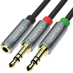 Kabel Unitek Jack 3.5mm - Jack 3.5mm x2 0.2m czarny (Y-C957ABK)
