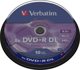 Verbatim DVD+R 8.5GB 8X DOUBLE LAYER CAKE10SZ ( 43666 )