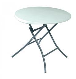 LIFETIME Okrągły półkomercyjny stół składany 83.8cm (biały granit)  (80423)