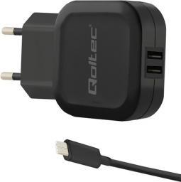 Ładowarka Qoltec do Smartfona/Tabletu 2xUSB+USB-C (50188)