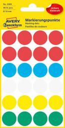 Avery Zweckform Etykiety kółka do zaznaczania 18mm, mix kolorów (3089)