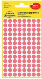 Avery Zweckform Etykiety kółka do zaznaczania 8mm, czerwone odblaskowe (3177)