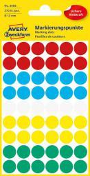 Avery Zweckform Etykiety kółka do zaznaczania 12mm, mix kolorów (3088)