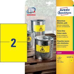 Avery Zweckform Etykiety wodoodporne Heavy Duty  210 x 148 mm żółty  (L6130-20)