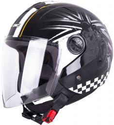 W-TEC Kask motocyklowy otwarty W-TEC FS-715B Kolor Czarno-graficzne, Rozmiar XS (53-54) - 15343-XS