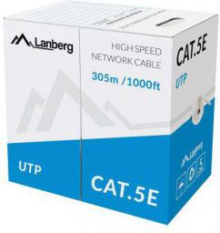 Lanberg kabel instalacyjny UTP, kat. 5e, linka CCA, 305m, szary (LCU5-11CC-0305-S)