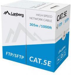 Lanberg kabel instalacyjny FTP, kat. 5e, drut, CCA, 305m, szary (LCF5-10CC-0305-S)