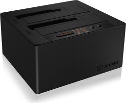 Kieszeń RaidSonic IcyBox Stacja dokująca na Dyski 2x 2,5''/3,5'' HDD, USB 3.1 Type-C, Led, Czarna (IB-121CL-C31)