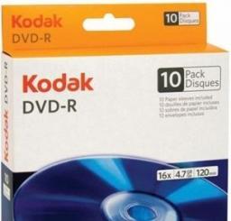 Kodak DVD-R 4.7GB,   16X,  10 sztuk  (3936183)