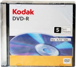 Kodak DVD-R 4.7GB,   16X,  slim case, 5 sztuk  (3936236)