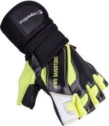 inSPORTline Skórzane rękawice do ćwiczeń fitness na siłownie Perian czarno-żółte r. XXL (16495)
