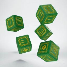 Q-Workshop Komplet Kości - Orkowy, Bitewny - Zielono-żółty