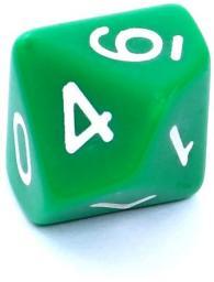 Rebel Kość matowa 10 Ścian - Cyfry - Zielona (106213)