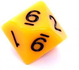 Rebel Kość matowa 10 Ścian - Cyfry - Żółta (106220)