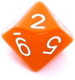 Rebel Kość matowa 10 Ścian - Cyfry - Pomarańczowa (106255)