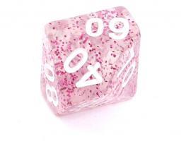 Rebel Kość brokatowa 10 Ścian (setka) - Cyfry - Różowa (106386)