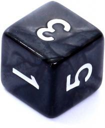 Rebel Kość perłowa 6 Ścian - Cyfry - Czarna (106433)